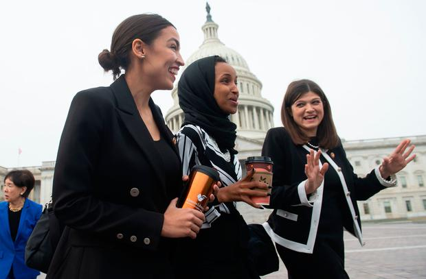 Political row: Members of the US Congress Alexandria Ocasio-Cortez and Ilhan Omar, with fellow Congress member Haley Stevens. Photo: SAUL LOEB/AFP/Getty Images