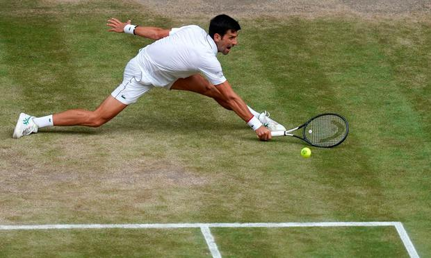 Holding court: Novak Djokovic is at full stretch as he reaches for a return during yesterday's Wimbledon final. Photo: Will Oliver/AFP/Getty Images
