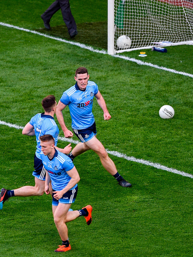 Brian Fenton of Dublin celebrates after scoring his side's fifth goal during the All-Ireland SFC quarter-final against Cork at Croke Park