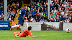 Mason Mount of Chelsea FC scores the first goal past St Patrick's Athletic goakeeper Barry Murphy during last Saturday's friendly at Richmond Park, Inchicore. Photo: Matt Browne/Sportsfile