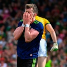 Cillian O'Connor of Mayo reacts after mising a goal chance against Kerry
