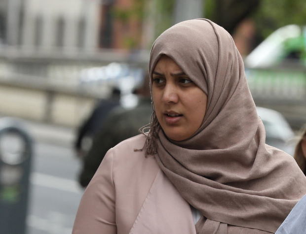 Rasha Akkazah, mother of Mohammad Ali, with an address at North King Street, Dublin pictured leaving the Four Courts after a District Court action. Pic: Collins Courts