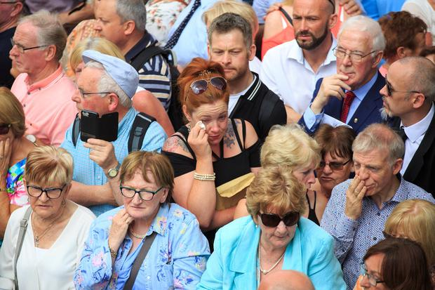 Mourners at the funeral of Brendan Grace in the Liberties in Dublin. (Photo: Mark Condren)
