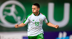 Joe Hodges of Republic of Ireland celebrates after scoring his side's first goal
