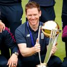 Eoin Morgan celebrates winning the Cricket World Cup with England
