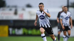 Michael Duffy of Dundalk during the UEFA Champions League First Qualifying Round 1st Leg match between Dundalk and Riga at Oriel Park in Dundalk, Co Louth. Photo by Eóin Noonan/Sportsfile