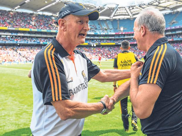 Kilkenny manager Brian Cody congratulates selector Mick Dempsey after their win against Cork. Photo: Sportsfile