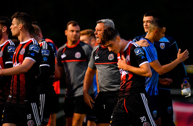 Bohemians manager Keith Long orders his players from the field following the match. Photo: Seb Daly/Sportsfile