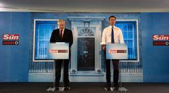 Conservative party leadership candidates Boris Johnson and Jeremy Hunt during a head-to-head debate hosted by The Sun at Talk Radio in The News Building, London. Photo: Louis Wood/The Sun/The Sun/PA Wire