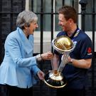 England's Eoin Morgan with Britain's Prime Minister Theresa May