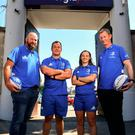 Leinster Women's head coach Ben Armstrong, Ed Byrne of Leinster, Michelle Claffey of Leinster, and Leinster head coach Leo Cullen. Photo by Sam Barnes/Sportsfile