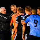 Conor Kearns of UCD, second left, tussles with Bohemians players following the SSE Airtricity League Premier Division match at Belfield Bowl in Dublin. Photo: Seb Daly/Sportsfile