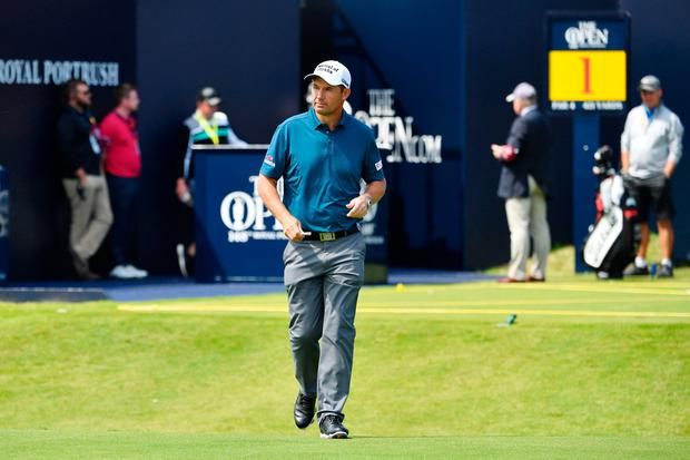 Padraig Harrington walks from the first tee during a practice session at The 148th Open golf Championship at Royal Portrush golf club. Photo: AFP/Getty Images