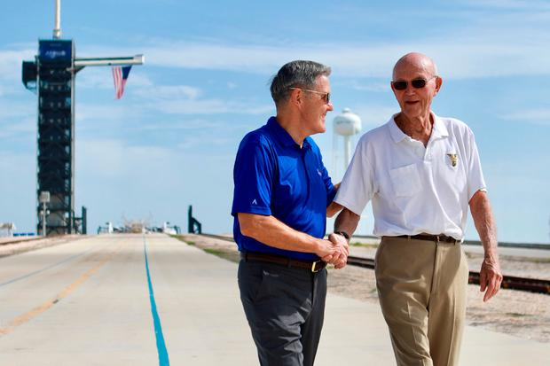 Welcome back: Michael Collins with Kennedy Space Centre director Bob Cabana. Photo: AP