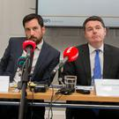 Grant: Housing Minister Eoghan Murphy and Finance Minister Paschal Donohoe during the launch of Home Building Finance Ireland's first half-year update yesterday. Photo: Collins