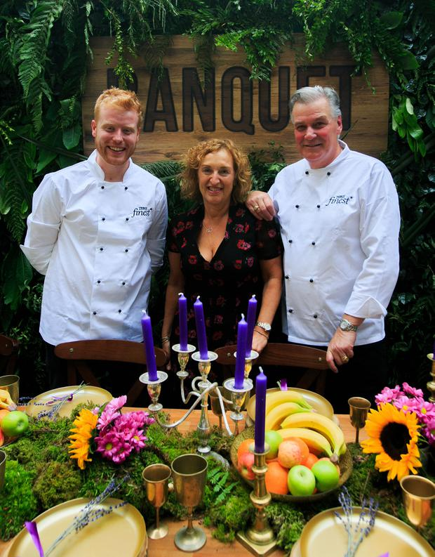 Mark Moriarty and Derry Clarke, pictured with Lindsey Holmes, for the launch at L'Ecrivain of Tesco Finest's support for the forthcoming Banquet at Electric Picnic. Picture: Gareth Chaney/Collins