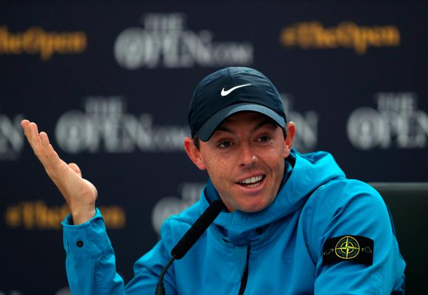 Rory McIlroy in a press conference ahead of the first round of The Open Championship 2019 at Royal Portrush Golf Club.