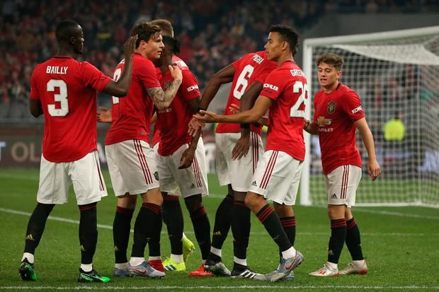 Mason Greenwood of Manchester United celebrates a goal during a pre-season friendly match between Manchester United and Leeds United at the Optus Stadium. Photo: Paul Kane/Getty Images
