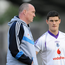 Former Dublin manager Pat Gilroy in conversation with Diarmuid Connolly. Picture credit: Barry Cregg / SPORTSFILE