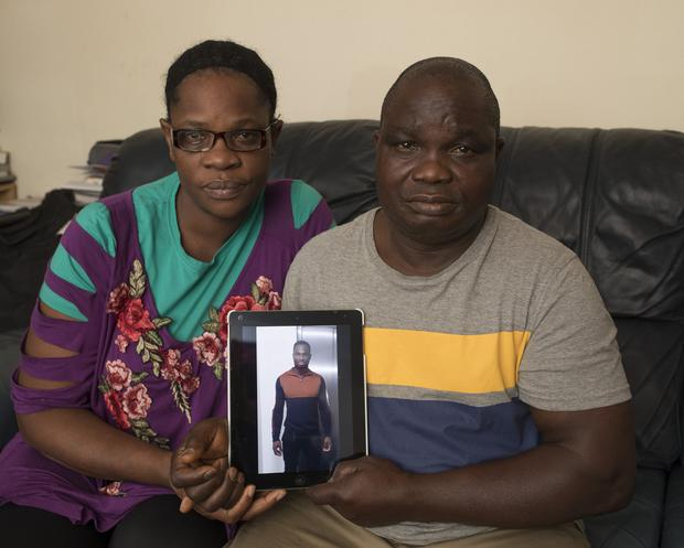 Barry and Judith Ogbomor whose son Lucky died tragically in a drowning accident in Zurich in Switzerland. Picture: Arthur Carron