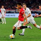 Mason Greenwood of Manchester United passes the ball during a pre-season friendly match between Manchester United and Leeds United at Optus Stadium on July 17, 2019 in Perth, Australia. (Photo by Will Russell/Getty Images)