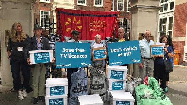 Around a dozen activists gathered outside the Conservative Campaign Headquarters in Westminster (Alex Green/PA)