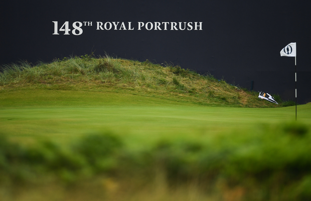 A general view of the 18th green prior to a practice round ahead of the 148th Open Championship at Royal Portrush in Portrush, Co. Antrim. Photo by Ramsey Cardy/Sportsfile