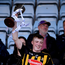 Kilkenny captain Evan Shefflin lifts the cup following the Bord Gais Energy Leinster GAA Hurling U20 Championship Final match between Kilkenny and Wexford at Innovate Wexford Park in Wexford. Photo by Matt Browne/Sportsfile