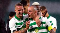 Celtic's Leigh Griffiths (left) and Scott Brown celebrate victory after the UEFA Champions League first qualifying round, second leg match at Celtic Park, Glasgow. Andrew Milligan/PA Wire