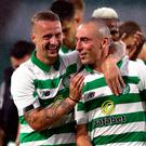 Celtic's Leigh Griffiths (left) and Scott Brown celebrate victory after the UEFA Champions League first qualifying round, second leg match at Celtic Park, Glasgow. PRESS ASSOCIATION Photo. Picture date: Wednesday July 17, 2019. See PA story SOCCER Celtic. Photo credit should read: Andrew Milligan/PA Wire