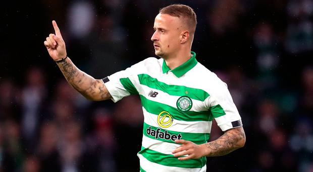 Celtic's Leigh Griffiths is substituted onto the pitch. Photo: Andrew Milligan/PA Wire