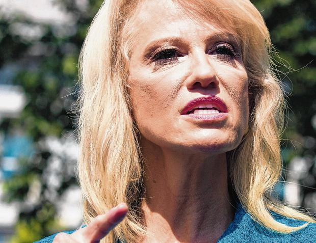 Questioned: Donald Trump's adviser Kellyanne Conway asked a reporter about his ethnic background. Photo: AP
