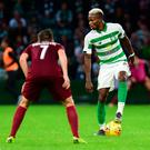 Boli Bolingoli of Celtic takes on Anel Hebibovic of FK Sarajevo during the UEFA Champions League first qualifying round second leg match at Celtic Park, Glasgow, Scotland. Photo: Mark Runnacles/Getty Images