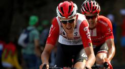 Team Sunweb rider Nicolas Roche is behind Lotto Soudal rider Tiesj Benoot of Belgium during the 170.5-km Tour de France Stage 9 from Saint-Etienne to Brioude. Photo: Reuters/Christian Hartmann