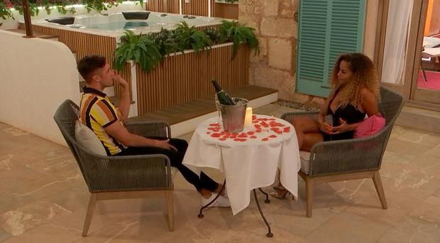 Greg and Amber on Love Island. PIC: ITV