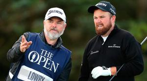 Ireland's Shane Lowry (right) is pictured during the first round of The Open Championship 2019 at Royal Portrush Golf Club.