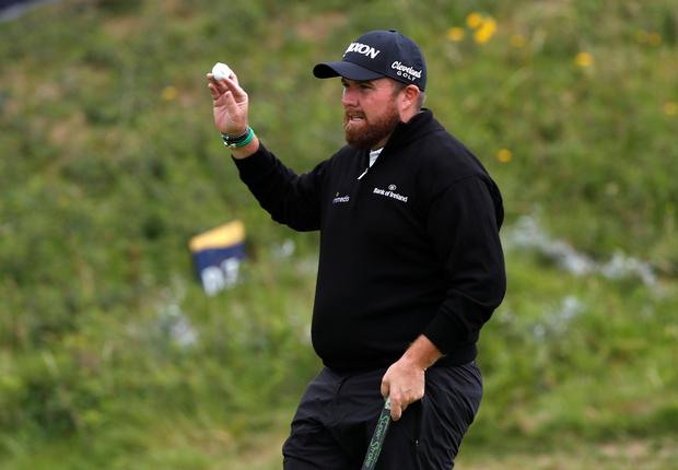Ireland's Shane Lowry reacts after completing his first round at the 148th Open Championship at Royal Portrush Golf Club, Portrush, Northern Ireland.