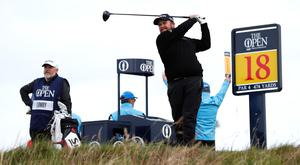 Ireland's Shane Lowry tees off on the 18th during the first round of the 148th Open Championship at Royal Portrush Golf Club, Portrush, Northern Ireland.