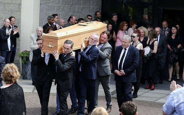 18/7/2019, The coffin is carried from the church after the funeral of Karl Shields at the Church of Our Lady Mother of the Cross in Castleknock. Picture credit; Damien Eagers / INM
