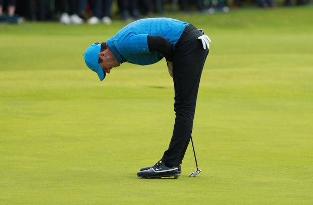 Golf - The 148th Open Championship - Royal Portrush Golf Club, Portrush, Northern Ireland - July 18, 2019 Northern Ireland's Rory McIlroy reacts during the first round REUTERS/Ian Walton