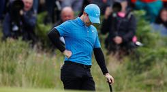 Golf - The 148th Open Championship - Royal Portrush Golf Club, Portrush, Northern Ireland - July 18, 2019 Northern Ireland's Rory McIlroy looks dejected during the first round REUTERS/Paul Childs