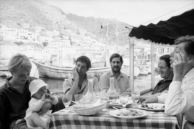 Bird on the wire: Marianne Ihlen, with her son Axel and, seated beside them, Leonard Cohen, in Hydra, Greece in 1960