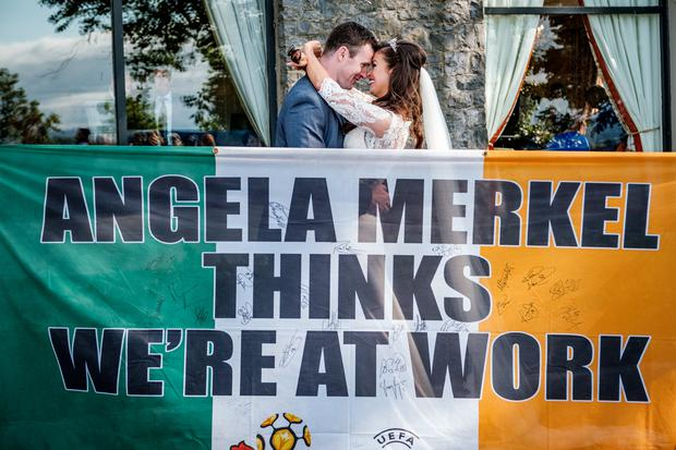 Tips: The famous flag at the wedding of Orlagh Eichholz and Richie Tuohy. Photos: Ronan Palliser