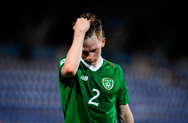 Ireland's Andy Lyons reacts following the match. Photo: Sportsfile