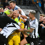 Gary Rogers, centre, of Dundalk celebrates with team-mates following the Champions League first qualifying round second leg win over Riga at the Skonto Stadium in Riga, Latvia. Photo: Roman Koksarov/Sportsfile