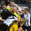 Gary Rogers, centre, of Dundalk celebrates with team-mates following the Champions League first qualifying round second leg at Skonto Stadium in Riga, Latvia. Photo: Roman Koksarov/Sportsfile