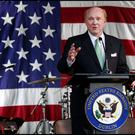 Newly appointed U.S. Ambassador to Ireland Edward F. Crawford speaking at the U.S. Ambassadors Residence during an Independence Day Party in the Phoenix Park. (Photo: Steve Humphreys)