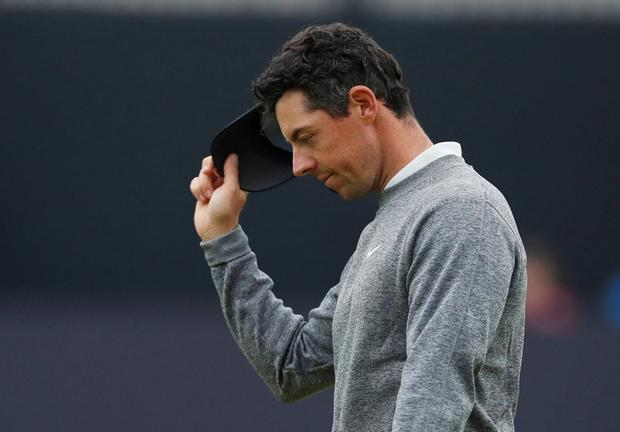 Golf - The 148th Open Championship - Royal Portrush Golf Club, Portrush, Northern Ireland - July 19, 2019 Northern Ireland's Rory McIlroy on the 18th hole during the second round REUTERS/Paul Childs