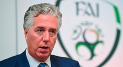 Off the pitch: Former FAI chief executive John Delaney, who stepped aside from his new role as executive vice president. Photo: Cody Glenn/Sportsfile