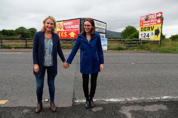 United: European Affairs Minister Helen McEntee (left) and French Europe Minister Amélie de Montchalin, at the old Ravensdale Border crossing. Photo: Brian Lawless/PA Wire